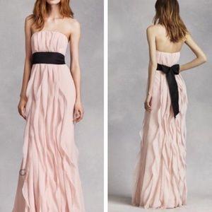 White by Vera Wang Ruffle Chiffon Strapless Dress